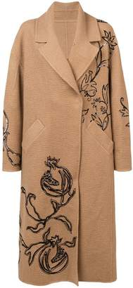Oscar de la Renta long sleeve embroidered coat