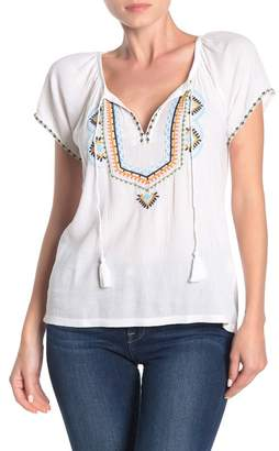 Lucky Brand Embroidered Peasant Shirt