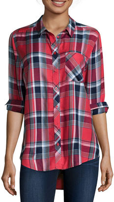 ARIZONA Arizona Long-Sleeve Boyfriend Plaid Shirt- Juniors $40 thestylecure.com