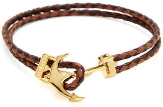Mateo Bijoux Braided Leather Anchor Bracelet