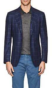 Canali Men's Capri Plaid Wool-Silk Two-Button Sportcoat-Navy