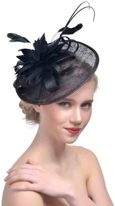 Church's Kentucky Derby Fascinator, Canvalite Women Sinamay Hat Vintage Veil Headdress for Tea Party