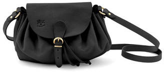 Il Bisonte Ruched Leather Drawstring Crossbody Bag