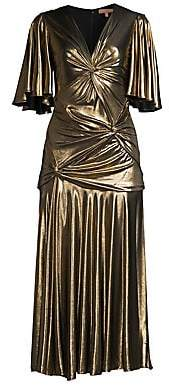 Michael Kors Women's Gathered Pleated Metallic Midi Dress