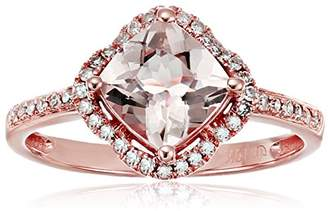 10k Rose Gold Morganite And Diamond Cushion Fancy Halo Engagement Ring (1/10cttw