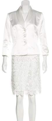 Tahari Arthur S. Levine Satin and Lace Skirt Suit