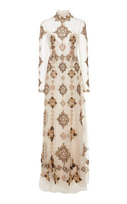 Cucculelli Shaheen Medallion Beaded Silk Organza Dress