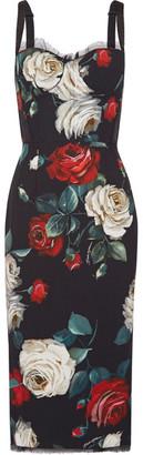 Dolce & Gabbana - Printed Cady Midi Dress - Black