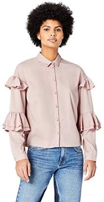 FIND Women's Blouse Frill Sleeve Classic Neck