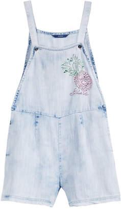 GUESS Big Girls Rhinestone Cotton Denim Short Overalls