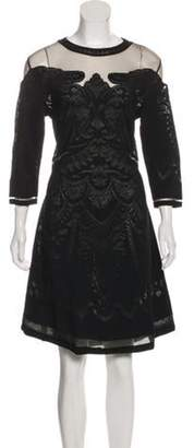 Alberta Ferretti Mesh-Accented Knee-Length Dress Black Mesh-Accented Knee-Length Dress