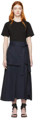 3.1 Phillip Lim Black and Navy Belted T-Shirt Dress
