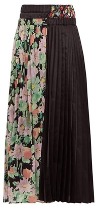 Junya Watanabe Floral Print Crepe And Satin Pleated Skirt - Womens - Black Multi
