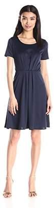 Star Vixen Women's Short Sleeve Starburst-Cinch Pleat Ponte Skater Dress