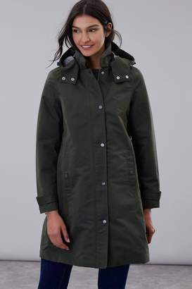 Joules Womens Green Headland A-Line Raincoat With Removable Hood - Green