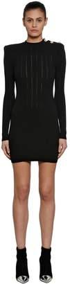 Balmain Wool Rib Knit Dress W/ Buttons