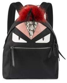 Fendi Monster Nylon, Leather& Mini Fur Backpack