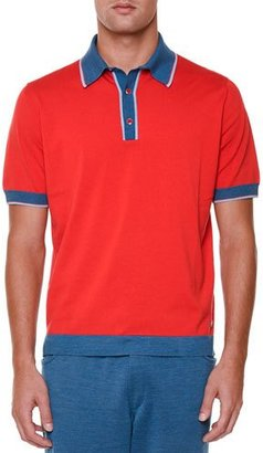 Stefano Ricci Short-Sleeve Polo Shirt with Contrast Trim, Red $1,150 thestylecure.com