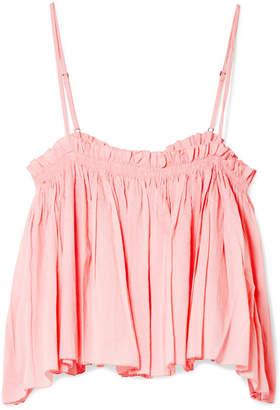 Apiece Apart Sanna Cropped Ruffled Cotton Camisole - Baby pink