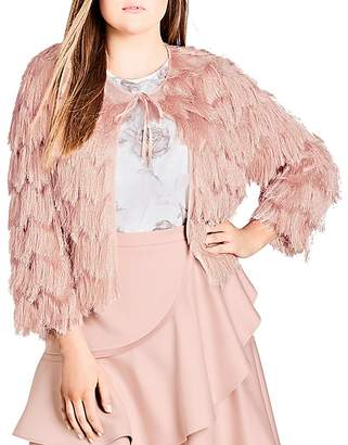 City Chic Plus Spring Fling Chevron Fringed Jacket