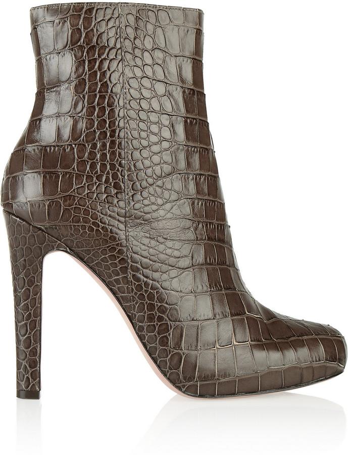 Jean-Michel Cazabat Jean Michel Cazabat Parisian croc-effect leather ankle boots