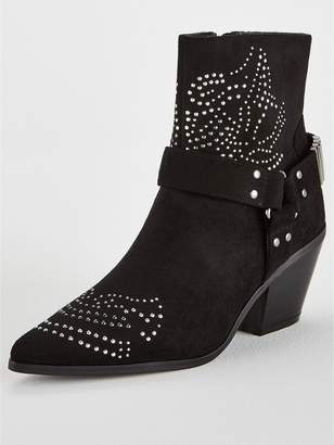 Very Fion Studded Western Boot - Black