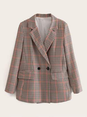 Shein Lapel Neck Double Breasted Houndstooth Flap Pocket Blazer