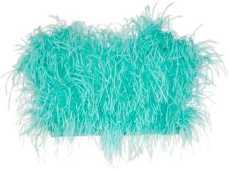 ATTICO Ostrich feather cropped bustier