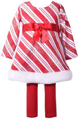Bonnie Jean Baby Girl Striped Foiled Dress & Leggings Set