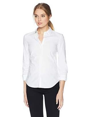 Lacoste Women's Long Sleeve Classic Solid Stretch POPLIN Shirt-Slim FIT