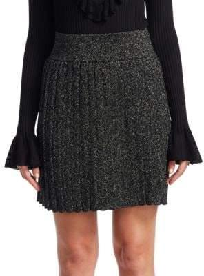Scripted Pleated Mini Skirt