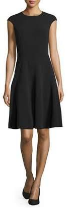 Michael Kors Cap-Sleeve Fit-&-Flare Dress, Black