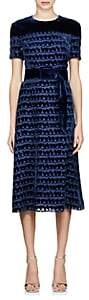 Fendi Women's Velvet-Detailed Chiffon Sheath Dress-Blue