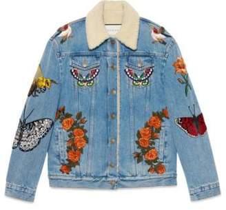 Gucci Embroidered denim jacket