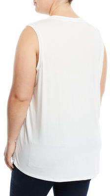 Iconic American Designer Zip-Front Sleeveless Leaf-Lace Blouse, Plus Size