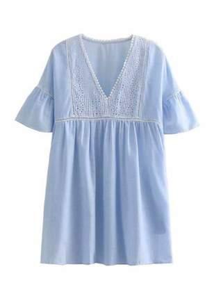 Goodnight Macaroon 'Mika' Striped Crochet Mini Dress