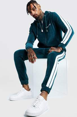 boohoo MAN Official Velour Tracksuit With Side Tape
