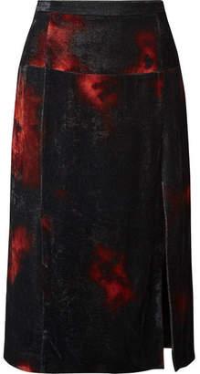 Altuzarra Printed Crushed-velvet Midi Skirt - Black