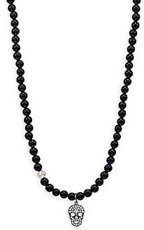Sydney Evan Men's 14K Black Rhodium-Plated White Gold & Pavé Diamond Skull and Ball Necklace