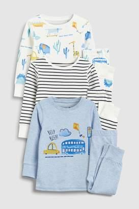 Next Boys Blue/Yellow Stripe/Transport Snuggle Fit Pyjamas Three Pack (9mths-8yrs)