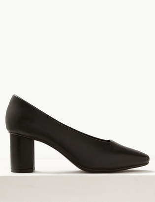 Marks and Spencer Wide Fit High Front Square Toes Court Shoes