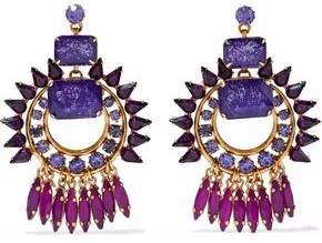 Elizabeth Cole Gold-Tone Crystal Earrings