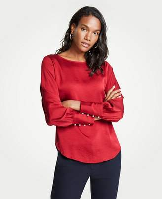 Ann Taylor Pearlized Cuff Boatneck Blouse