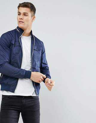Solid Jacket In Nylon Bomber With Chest Pocket