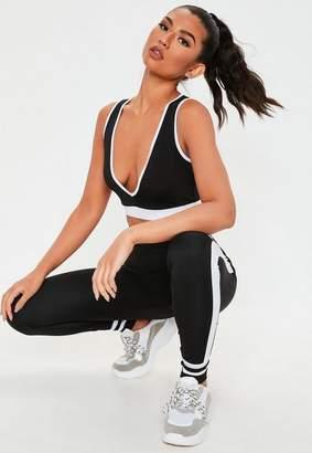 Missguided Active Black Contrast Side Panel Leggings