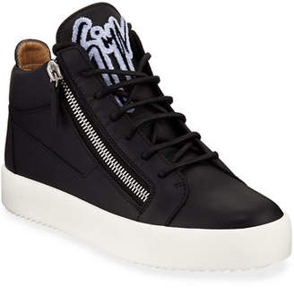 Giuseppe Zanotti Men's Mid-Top Sneaker with Varsity Felt Logo
