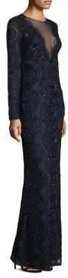 Aidan Mattox Long-Sleeve Beaded Gown