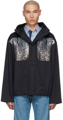 Dries Van Noten Navy Embroidered Sequin Jacket