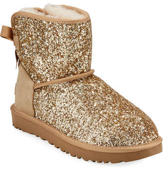 UGG Classic Mini Bow Cosmos Booties, Gold