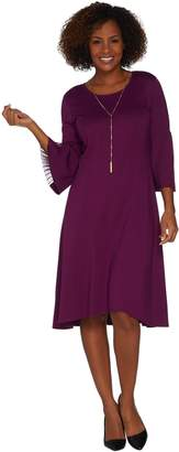 Halston H By H by Regular Ponte Fit & Flare Dress w/ Pleated Sleeves